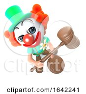 Poster, Art Print Of 3d Clown Character Holding An Auction