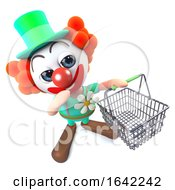 3d Clown Character Carrying A Shopping Basket
