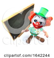 3d Clown Character Standing At A Blackboard