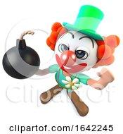 3d Crazy Clown Character Holding A Joke Bomb