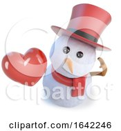 Poster, Art Print Of 3d Snowman Wearing A Top Hat And Holding A Romantic Red Heart Of Love