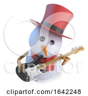 Poster, Art Print Of 3d Snowman In Top Hat Playing An Electric Guitar