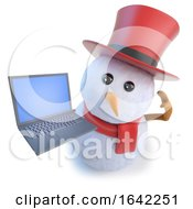 3d Snowman Wearing A Top Hat And Holding A Laptop Computer
