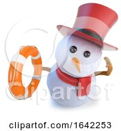 3d Snowman Wearing A Top Hat And Holding A Life Preserver Life Saver