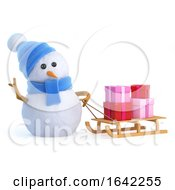 3d Snowman Pulls A Sleigh Full Of Presents And Gifts