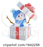 3d Snowman Jumps Out Of The Gift Box