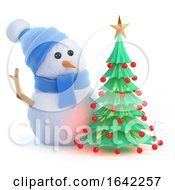 3d Snowman Has A Nice Christmas Tree