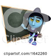 3d Halloween Witch On Broomstick In Front Of A Blackboard