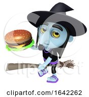 3d Halloween Witch Flying On A Broomstick And Holding A Cheese Burger