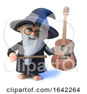 3d Wizard Pointing To Acoustic Guitar With Wand