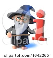3d Funny Wizard Pointing To Information Symbol