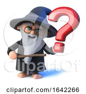 3d Wizard Pointing To A Question Mark Symbol