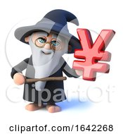 3d Wizard Magician Character Has Japanese Yen Currency Symbol