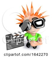 3d Punk Youth Holding Film Clapperboard