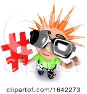 3d Punk Rocker Kid Character Holding A Hashtag Symbol
