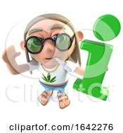 3d Hippy Stoner Character Holding An Information Symbol