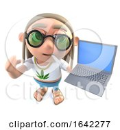 Poster, Art Print Of 3d Hippy Stoner Character Holding A Laptop Computer