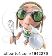 3d Hippy Stoner Character Holding A Whisk And Mixing Bowl
