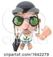 3d Hippy Stoner Character Wearing A Bowler Hat And Carrying A Briefcase