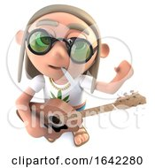 3d Hippy Stoner Character Playing An Acoustic Guitar