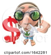 3d Hippy Stoner Holding A US Dollar Currency Symbol