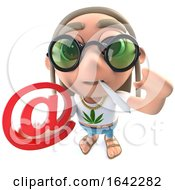 Poster, Art Print Of 3d Hippy Stoner Character Holding An Email Address Symbol