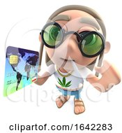 Poster, Art Print Of 3d Hippy Stoner Character Holding A Credit Debit Card