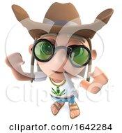 Poster, Art Print Of 3d Hippy Stoner Character Wearing A Ten Gallon Cowboy Hat
