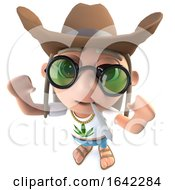 3d Hippy Stoner Character Wearing A Ten Gallon Cowboy Hat