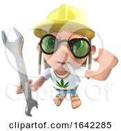 Poster, Art Print Of 3d Hippy Stoner Character Holding A Spanner And Wearing A Safety Helmet