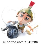 3d Roman Soldier Character Cleaning With A Broom And Trash Can