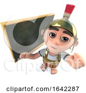 3d Roman Soldier Gladiator Standing In Front Of Blackboard