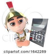 3d Roman Soldier Gladiator Holding A Calculator