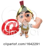 Funny 3d Cartoon Roman Gladiator Centurion Character Holding Email Symbol