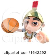 3d Roman Soldier Character Playing Basketball