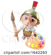 3d Roman Soldier Character Painting With A Paintbrush And Palette