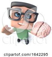 3d Geek Nerd Hacker Character Holding A Human Brain by Steve Young