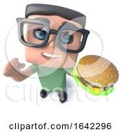 3d Geek Nerd Hacker Character Eating A Cheeseburger