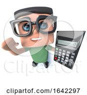 3d Nerd Geek Character Holding A Calculator by Steve Young