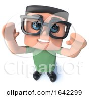 3d Nerd Geek Character Cheering Happily by Steve Young