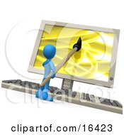 Blue Person Using A Paintbrush On A Flat Screen Computer Monitor To Create An Image Or This Could Be A Designer Designing A Website Clipart Illustration Graphic
