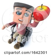 3d Cartoon Boy In Wheelchair Holding A Red Apple