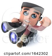 3d Funny Cartoon Boy In Wheelchair Waving And Holding A Pair Of Binoculars