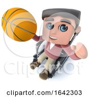 3d Funny Cartoon Teenager In A Wheelchair Character Playing Basketball