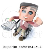 3d Cartoon Boy In Wheelchair Holding A Shopping Basket
