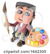 3d Cartoon Boy In Wheelchair Holding An Artist Paint Brush And Palette