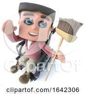 3d Funny Cartoon Boy In Wheelchair Waving And Holding A Broom