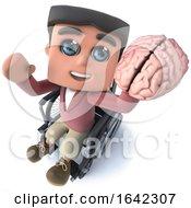 3d Funny Cartoon Boy In Wheelchair Holding A Human Brain