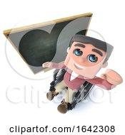 3d Funny Cartoon Boy In Wheelchair Waving In Front Of A Blackboard