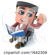 3d Funny Cartoon Boy In Wheelchair Waving And Reading A Book
